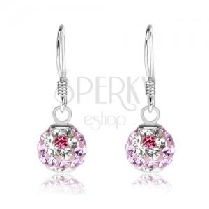 Kuličkové náušnice, stříbro 925, světle fialové krystaly Preciosa, kvítky, 8 mm