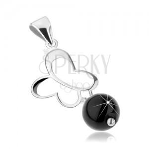 Stříbrný přívěsek 925, obrys motýla, černá onyxová kulička