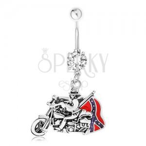 Piercing do bříška, ocel 316L, zirkon, přívěsek - motorkář, jižanská vlajka