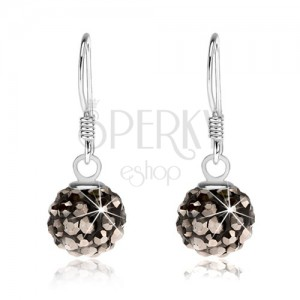 Kuličkové náušnice ze stříbra 925, černý povrch, ocelově šedé krystaly, 8 mm