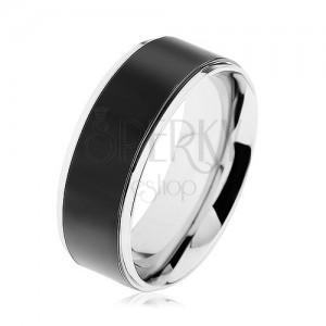 Prsten z oceli 316L, černý pás, vysoce lesklý lem stříbrné barvy