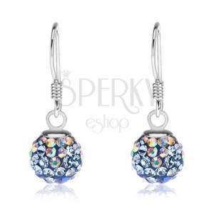 Stříbrné náušnice 925, kuličky, krystaly Preciosa - modré a duhové, 8 mm