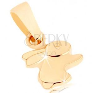 Přívěsek ve žlutém 9K zlatě - malý zajíček, jemně vypouklý povrch