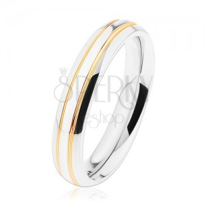 Lesklý ocelový prsten, stříbrrný odstín, tenké pásy zlaté barvy