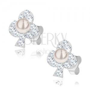 Náušnice ze stříbra 925, bílé trojlístky - čiré krystaly, bílá perleťová kulička
