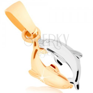 Dvoubarevný zlatý přívěsek 375 - dva delfínci, lesklý vypouklý povrch