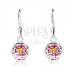 Náušnice ze stříbra 925, bílé kuličky, květy z růžovo-žlutých krystalů, 8 mm
