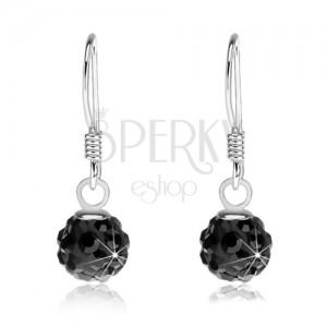 Kuličkové náušnice černé barvy, stříbro 925, černé krystaly Preciosa, 6 mm