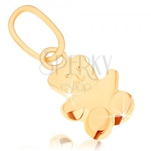 Přívěsek ve žlutém 9K zlatě - malý medvídek, hladký, mírně vypouklý povrch