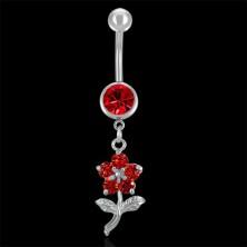 Piercing do pupíku červený květ