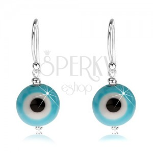 Náušnice ze stříbra 925, modrobílé ďáblovo oko, černý střed, 10 mm