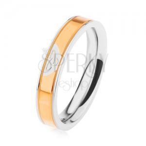 Ocelový prsten stříbrné barvy, lesklý pás ve zlatém odstínu, keltský uzel