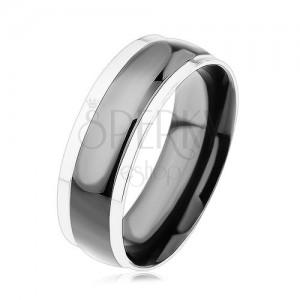 Prsten z chirurgické oceli, černý vypouklý pás, okraje ve stříbrné barvě