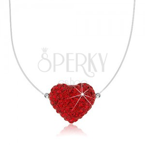 Náhrdelník ze stříbra 925, srdce červené barvy zdobené krystalky, silon