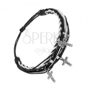 Nastavitelný náramek, černobílé šňůrky, ocelový přívěsek - křížek