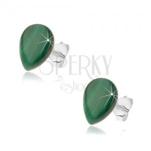 Puzetové stříbrné náušnice 925, zelená slza z malachitu