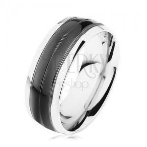 Prsten z oceli 316L, černý pás, lemy stříbrné barvy, vysoký lesk