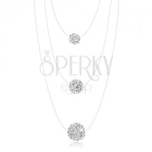 Náhrdelník ze stříbra 925, silon, bílé kuličky - různá velikost, čiré krystaly