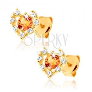 Náušnice ze žlutého 14K zlata - čirý zirkonový obrys srdce, žlutý citrín