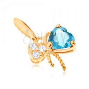 Zlatý přívěsek 585 - mašlička ozdobená modrým topasem a čirými zirkony