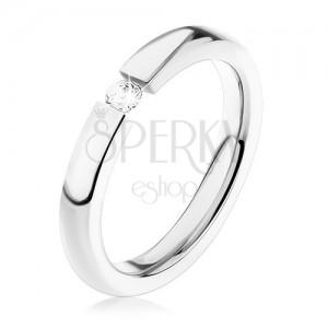 Ocelový prsten, stříbrný odstín, drobný čirý zirkon, vysoký lesk