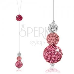 Třpytivý náhrdelník, stříbro 925, kuličky s krystaly na silonu, bílá a růžová barva