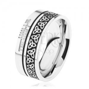 Lesklý prsten, ocel 316L, vzor - keltský uzel, lemy stříbrné barvy
