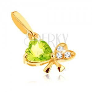 Zlatý přívěsek 585 - mašle ze dvou srdíček, světle zelený olivín, čiré zirkonky