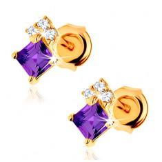Zlaté náušnice 585 - ametystový čtvereček fialové barvy, zirkony GG88.24