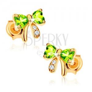 Zlaté puzetové náušnice 585 - světle zelená olivínová mašlička