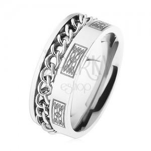 Ocelový prsten s řetízkem, stříbrná barva, ornamenty