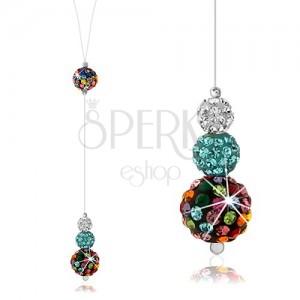 Stříbrný náhrdelník 925, silon, barevné kuličky zdobené krystaly Preciosa