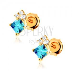 Náušnice ze žlutého 14K zlata, čtvercový modrý topas, čiré zirkonky