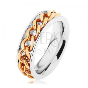 Ocelový prsten, řetízek zlaté barvy, zrcadlový lesk