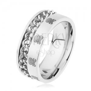 Široký prsten, ocel 316L, řetízek, vzor - lebky a zkřížené kosti