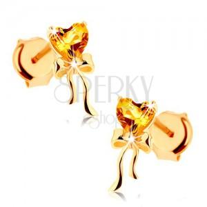 Náušnice ze žlutého 14K zlata - citrínové srdíčko žluté barvy, lesklá mašlička