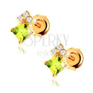 Náušnice ve žlutém 14K zlatě - olivínový čtvereček světle zelené barvy, čiré zirkony