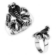 Mohutný ocelový prsten, lesklá ramena, patinovaný had - kobra HH9.3