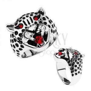 Masivní prsten, ocel 316L, hlava leoparda, červené zirkony