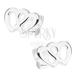 Náušnice ze stříbra 925, dva propojené obrysy srdcí, puzetky