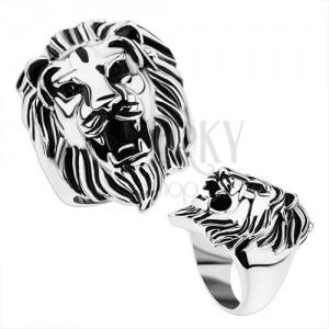Masivní ocelový prsten, stříbrná barva, lví hlava, lesklá ramena