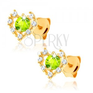 Náušnice ze žlutého 14K zlata - čirý zirkonový obrys srdce, zelený olivín
