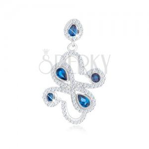 Přívěsek ze stříbra 925, tmavě modré zirkony - kruhy, slzy, ornament