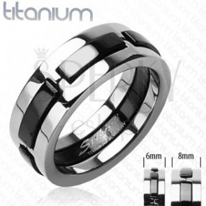 Titanový prsten s černými vystouplými pásy