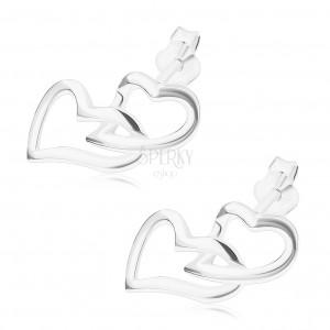 Puzetové náušnice, stříbro 925, propojené obrysy, asymetrická srdce