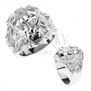 Mohutný prsten z oceli 316L, stříbrná barva, lví hlava