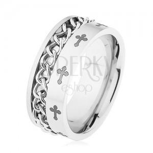 Prsten z oceli 316L stříbrné barvy, řetízek, liliové kříže