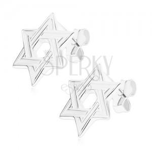 Puzetové náušnice, stříbro 925, plochá šesticípá hvězda, lesklé okraje