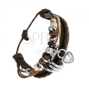 Kožený pletený náramek, šňůrky, ozdobné kroužky, ocelový přívěsek - zámek