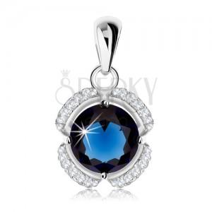 Stříbrný přívěsek 925, květ - tmavě modrý kulatý zirkon, čiré obloučky